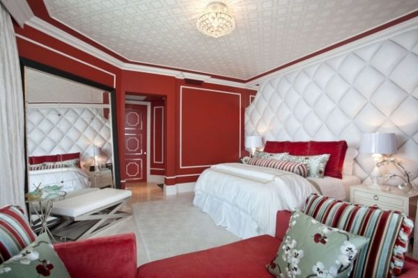 mur rouge chambre