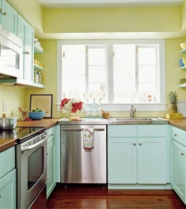 Quelle couleur choisir en déco - Mixer deux couleurs pastels en cuisine
