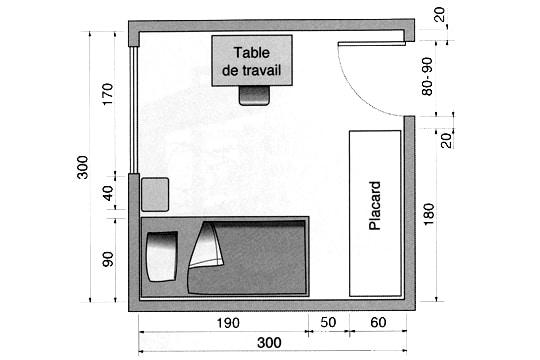 Plan circulation pour 1 lit contre le mur