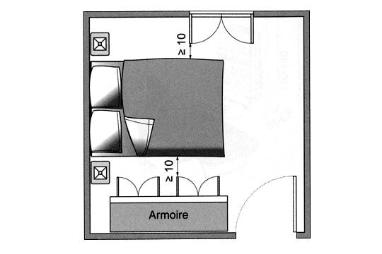Plan circulation pour 1 lit double et armoire