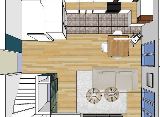 Projection 3D d'une espace de vie vendu sur plans
